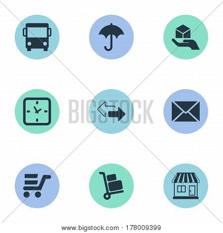 Vector Illustration Set Of Simple Handing Icons. Elements Minutes , Luggage Bearer, Hand Synonyms Gingham, Store And Opposite.