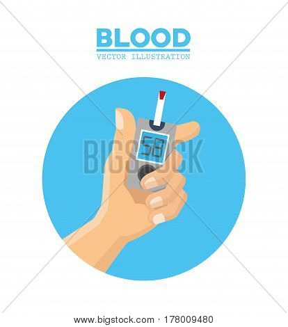 blood hand diabetes test vector illustration eps 10
