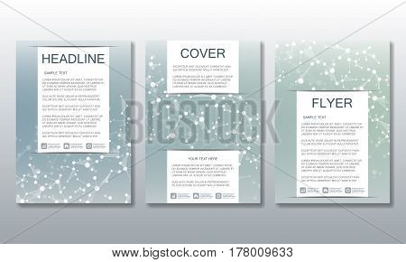 Set of business templates for brochure, flyer, cover magazine in A4 size. Structure molecule DNA and neurons. Geometric abstract background. Medicine, science, technology. Scalable vector graphics
