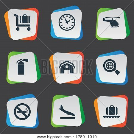 Vector Illustration Set Of Simple Airport Icons. Elements Air Transport, Cigarette Forbidden, Luggage Carousel And Other Synonyms Hangar, Helicopter And Garage.