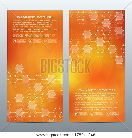 Set of modern vertical scientific banners. Molecule structure of DNA and neurons. Abstract background. Medicine, science, technology, business and website templates. Scalable vector graphics
