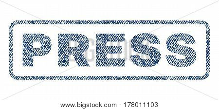 Press text textile seal stamp watermark. Blue jeans fabric vectorized texture. Vector tag inside rounded rectangular banner. Rubber sign with fiber textile structure.