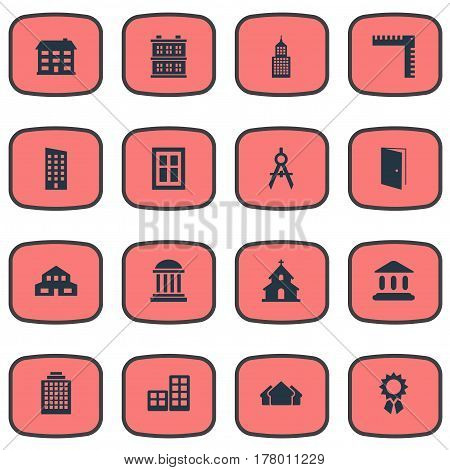 Vector Illustration Set Of Simple Construction Icons. Elements Engineer Tool, Glazing, Offices And Other Synonyms Ruler, Religious And Three.
