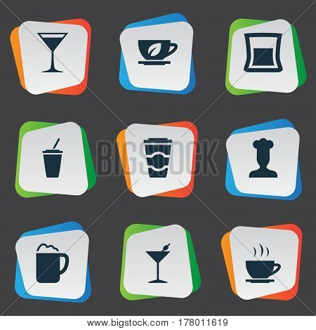 Vector Illustration Set Of Simple Food Icons. Elements Wineglass, Soft Drink, Pub And Other Synonyms Beverage, Champagne And Gastronomy.