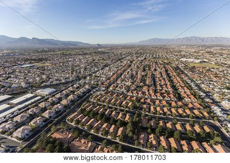 Aerial view of suburban neighborhood sprawl in Las Vegas, Nevada.