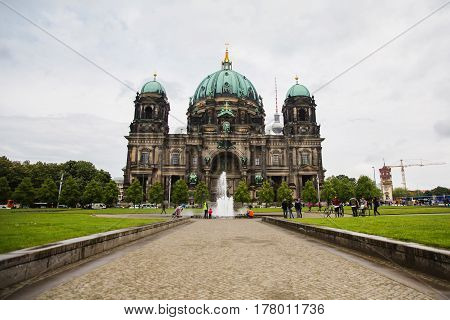 Museum Island in Berlin. A stroll through the streets of Berlin. Travel to Germany. Beautiful view of historic Berlin Dom. The big cathedral in Berlin
