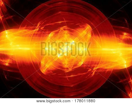 Fiery glowing fusion in space plasma force field computer generated abstract background 3D rendering