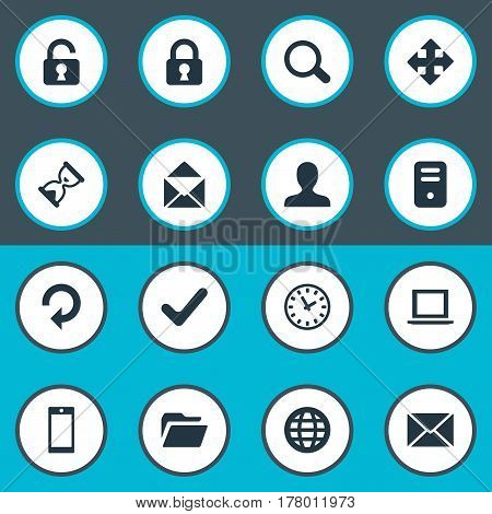 Vector Illustration Set Of Simple Practice Icons. Elements Lock, Computer Case, Envelope And Other Synonyms Lock, Human And Ticker.