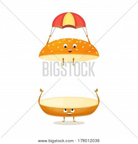 Floating bun with sesame. Cute funny character with happy face. Kids menu illustration. Fresh and tasty food on white background. Bread roll for the burger