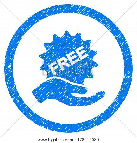 Free Offer grainy textured icon inside circle for overlay watermark stamps. Flat symbol with dust texture. Circled dotted vector blue ink rubber seal stamp with grunge design on a white background.