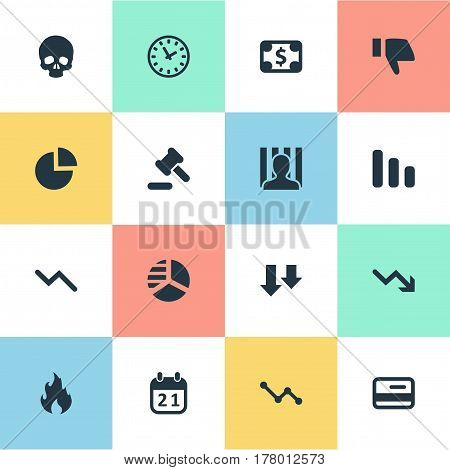Vector Illustration Set Of Simple Crisis Icons. Elements Finger Below, Line Chart, Tribunal And Other Synonyms Law, Graph And Pie.