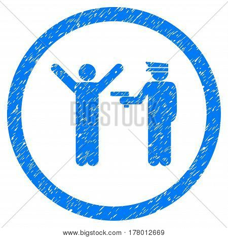 Police Arrest grainy textured icon inside circle for overlay watermark stamps. Flat symbol with dirty texture.