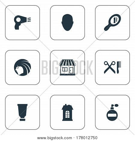 Vector Illustration Set Of Simple Hairdresser Icons. Elements Glamour Lady, Human, Reflector And Other Synonyms Supermarket, Store And Building.