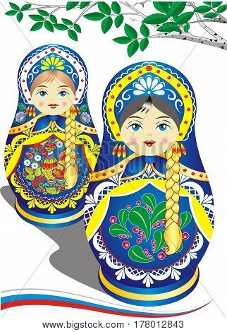 Russian nesting dolls in the blue dress. Brunette and blonde. The branch of a birch. Folklore. Vector illustration