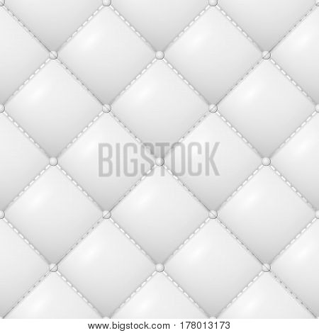 Quilted Pattern Vector. Abstract Soft Textured Background With Squares In White. Close-up