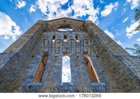 Medieval Abbey Of San Galgano From 13Th Century, Near Siena, Tuscany, Italy