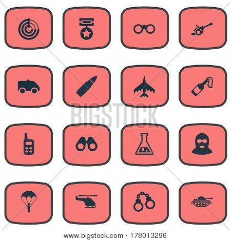 Vector Illustration Set Of Simple Battle Icons. Elements Radio Locator, Walkies, Medal And Other Synonyms Tank, Handcuffs And Offender.