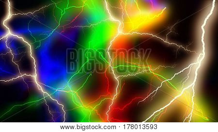 Multitude of colorful lightnings striking everywhere 3d rendering