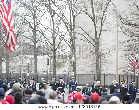 45th Presidential Inauguration, Donald Trump: US Military personnel march in the Presidential Parade on Pennsylvania Ave in NW, WASHINGTON DC - JAN 20 2017