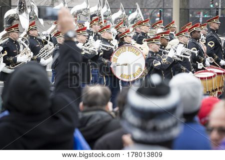 45th Presidential Inauguration, Donald Trump: The US Army Band plays during the Presidential Parade on Pennsylvania Ave in NW, WASHINGTON DC - JAN 20 2017