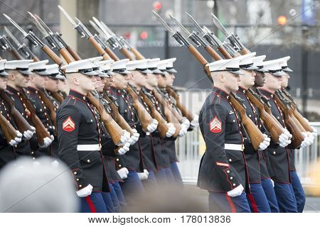 45th Presidential Inauguration, Donald Trump: US Marine Corps personnel march in the Presidential Parade on Pennsylvania Ave in NW, WASHINGTON DC - JAN 20 2017