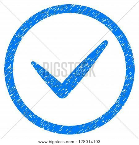 Valid grainy textured icon inside circle for overlay watermark stamps. Flat symbol with dirty texture. Circled dotted vector blue ink rubber seal stamp with grunge design on a white background.