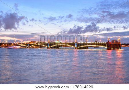 Trinity bridge and Neva River at night in St.Petersburg Russia.