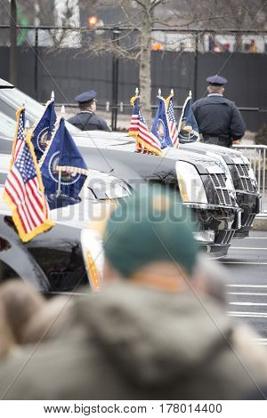 45th Presidential Inauguration, Donald Trump: Flags on the Presidential Motorcade vehicles during the parade on Pennsylvania Ave, NW WASHINGTON DC - JAN 20 2017