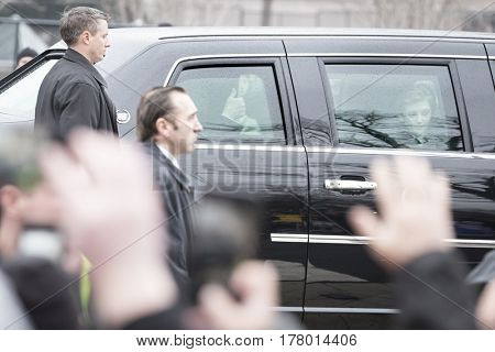 45th Presidential Inauguration, Donald Trump: President Donald Trump gives a thumbs up to the crowd, Presidential Motorcade on Pennsylvania Ave, NW, WASHINGTON DC - JAN 20 2017