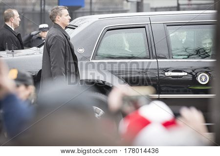 45th Presidential Inauguration, Donald Trump: President Donald Trump waves to the crowd, Presidential Motorcade on Pennsylvania Ave, NW, WASHINGTON DC - JAN 20 2017