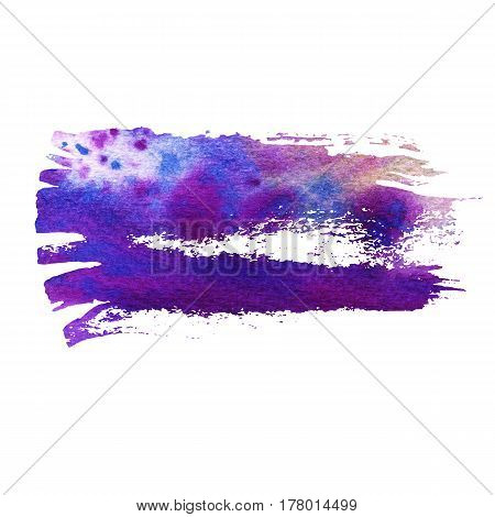 Blue and violet watercolor brush strokes with space for your own text. Wet brush stroke on paper texture. Dry brush strokes. Abstract composition for design elements