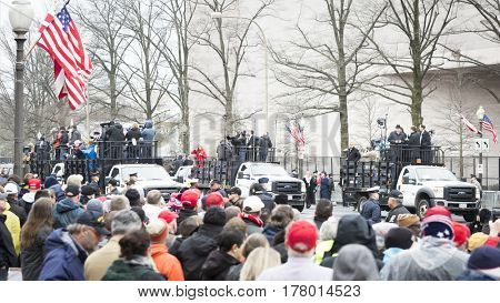 45th Presidential Inauguration, Donald Trump: Television reporters broadcast live from the back of pick up trucks, WASHINGTON DC - JAN 20 2017