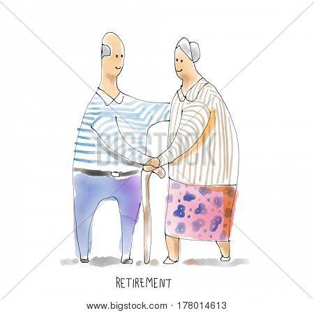 Retirement couple elder enjoying pension insurance happily. Watercolor illustration
