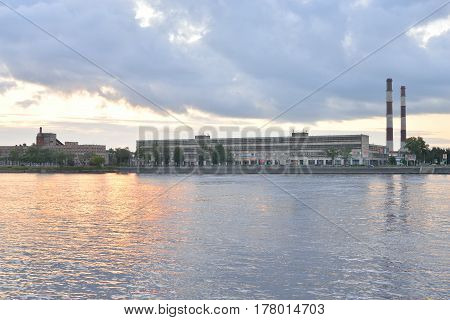 October embankment before dawn on the outskirts of Saint Petersburg Russia.
