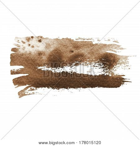 Vintage brown watercolor brush strokes with space for your own text. Wet brush stroke on paper texture. Dry brush strokes. Abstract composition for design elements
