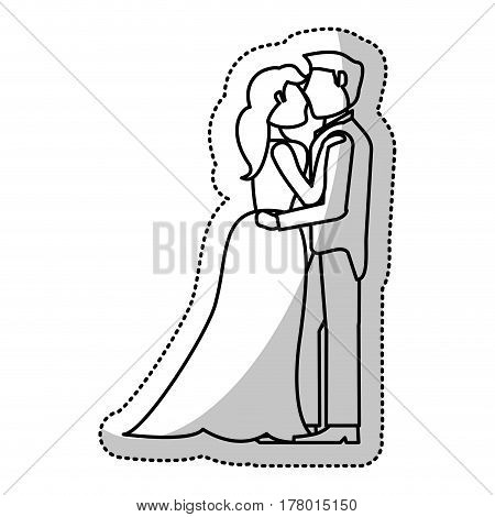couple embrace wedding romantic outline vector illustration eps 10
