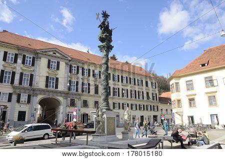 GRAZ, AUSTRIA - MARCH 19, 2017: The Trinity Column at the Carmelite Square in Graz the capital of federal state of Styria Austria.