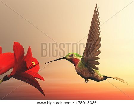 Ruby-throated hummingbird flying upon red daisies by cloudy day - 3D render