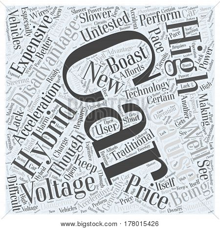 disadvantages of hybrid cars Word Cloud Concept