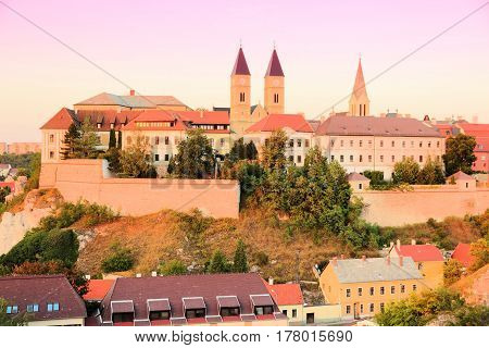 Veszprem Hungary. City in Central Transdanubia region. Townscape with castle. Sunset light. poster