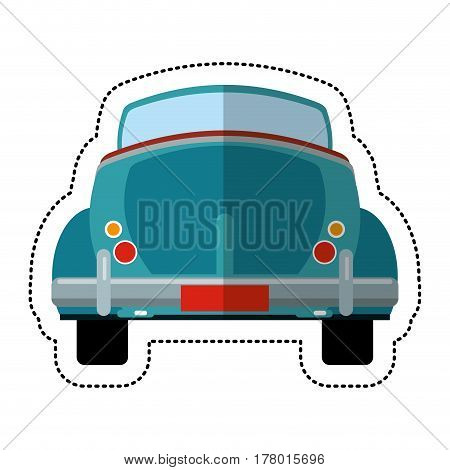 blue car vintage just married vector illustration eps 10