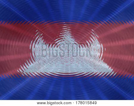 Cambodia flag background with ripples and rays illustration