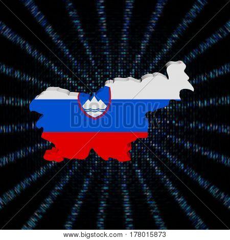 Slovenia map flag on blue hex code burst illustration