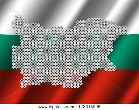 Bulgaria map of votes on rippled Bulgarian flag illustration