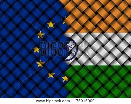 EU Indian interwoven flags 3d illustration