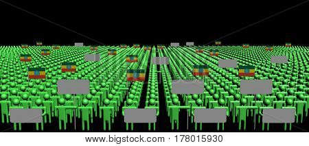 Crowd of people with signs and Ethiopian flags 3d illustration