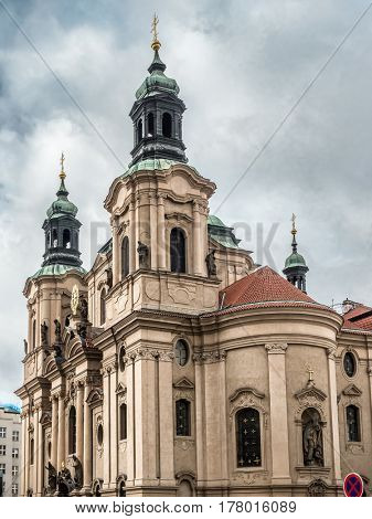 Historical Church of St Nicholas located in the Old Town, Prague, Czech Republic