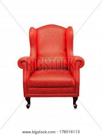 Red Decorated Baroque Style Armchair Over White Background