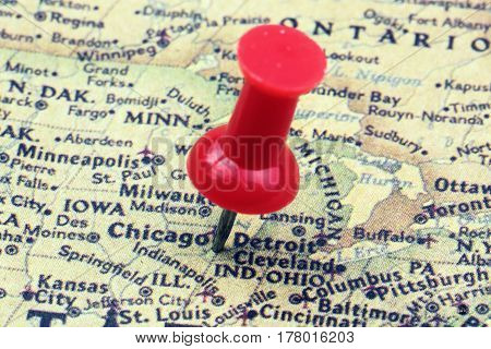 Close up of Chicago USA map with red push pin.
