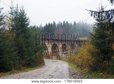 An old austrian railway bridge is a viaduct XIX ages in locality of Vorokhta, Carpathians, Ukraine
